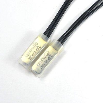 2pcs KSD9700 45°C NO Thermostat Temperature Control Switch Bimetal 250V 5A N.O