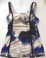 LULULEMON Whole Hearted Tank Top w Pads Milky Way Blue Black Ivory sz 8 EUC Yoga