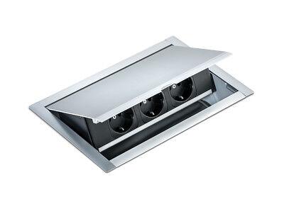 Edelstahl Arbeitsplatten Steckdose - 3-fach 263x176mm - Einbausteckdose Power Einfach Zu Reparieren