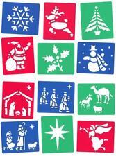 12 Washable Stencils NATIVITY & CHRISTMAS Themed Xmas Crafts & Cardmaking (MB)