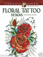 Floral Tattoo Designs Adult Colouring Book Creative Art Therapy Relaxing Gift