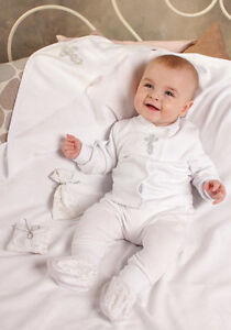 c5a790714e3 Image is loading Baby-Boys-Christening-Outfit-White-Infant-Newborn-Cotton-