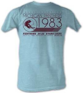 Michigan-Panthers-We-Win-USFL-Men-039-s-Crew-Neck-Tee-Shirt-Light-Blue-Sizes-S-2XL