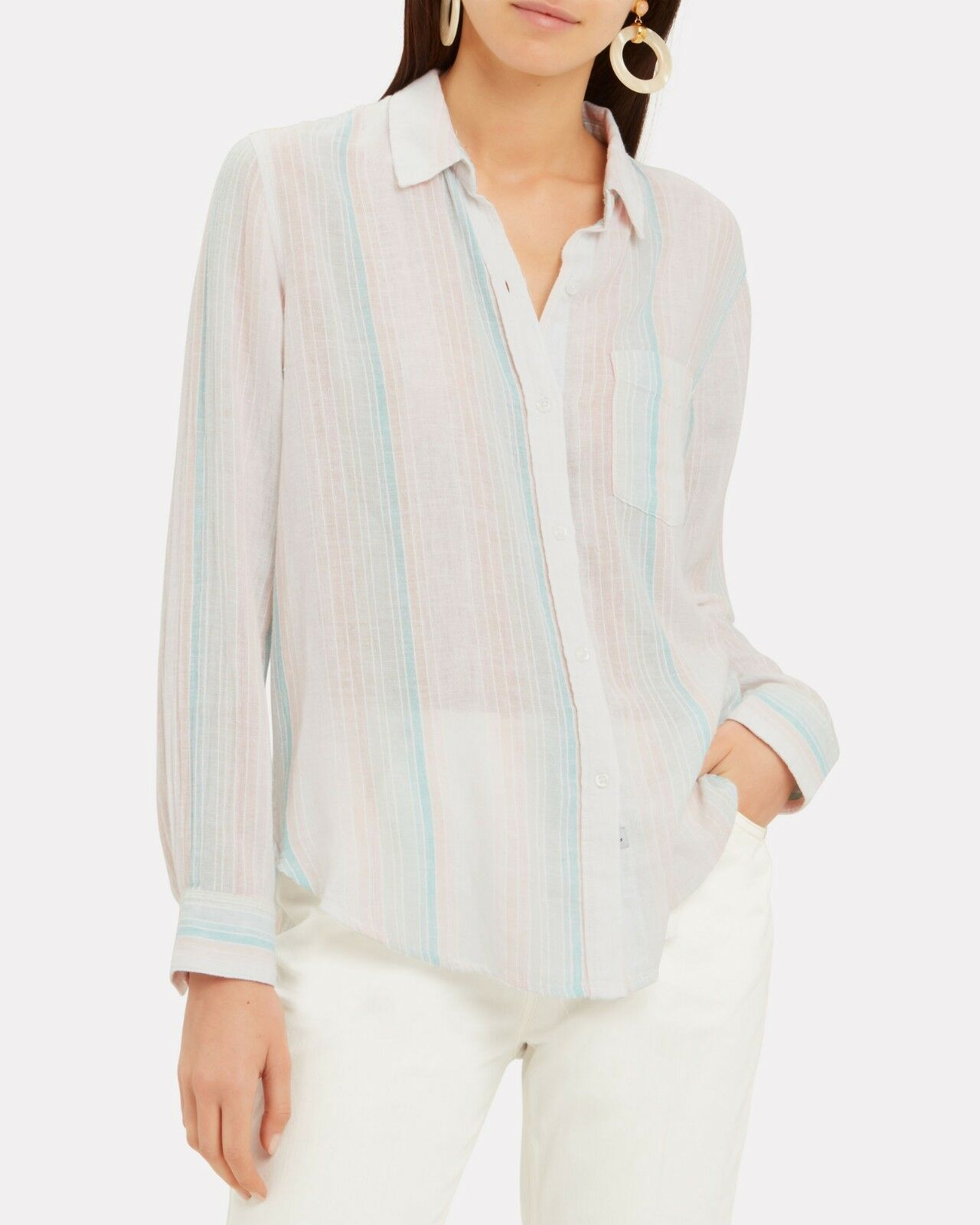 NWT Authentic Rails Marbella Long Sleeve Stripe Button Down Shirt Small
