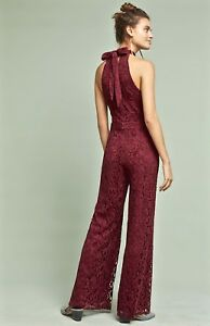4691066a6a8b NWT Anthropologie wine Velvety Lace Wide Leg Halter Back Tie Lined ...