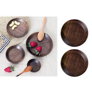 2Pcs-Wooden-Plate-Serving-Tray-Black-Walnut-Wood-Dish-Dessert-Fruit-Platter