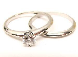 Authentic Tiffany Co Platinum Engagement Wedding Ring Set 30
