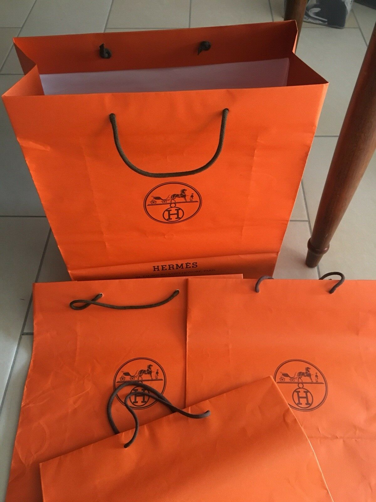 HERMES XL Orange shopping Bag Giftbags