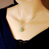 Ny6design Sterling Silver Chain W/green Aventurine Apple Pendant Necklace16-18