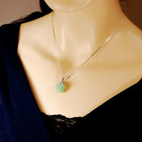 Ny6design Sterling Silver Chain W/green Aventurine Apple Pendant Necklace16-18