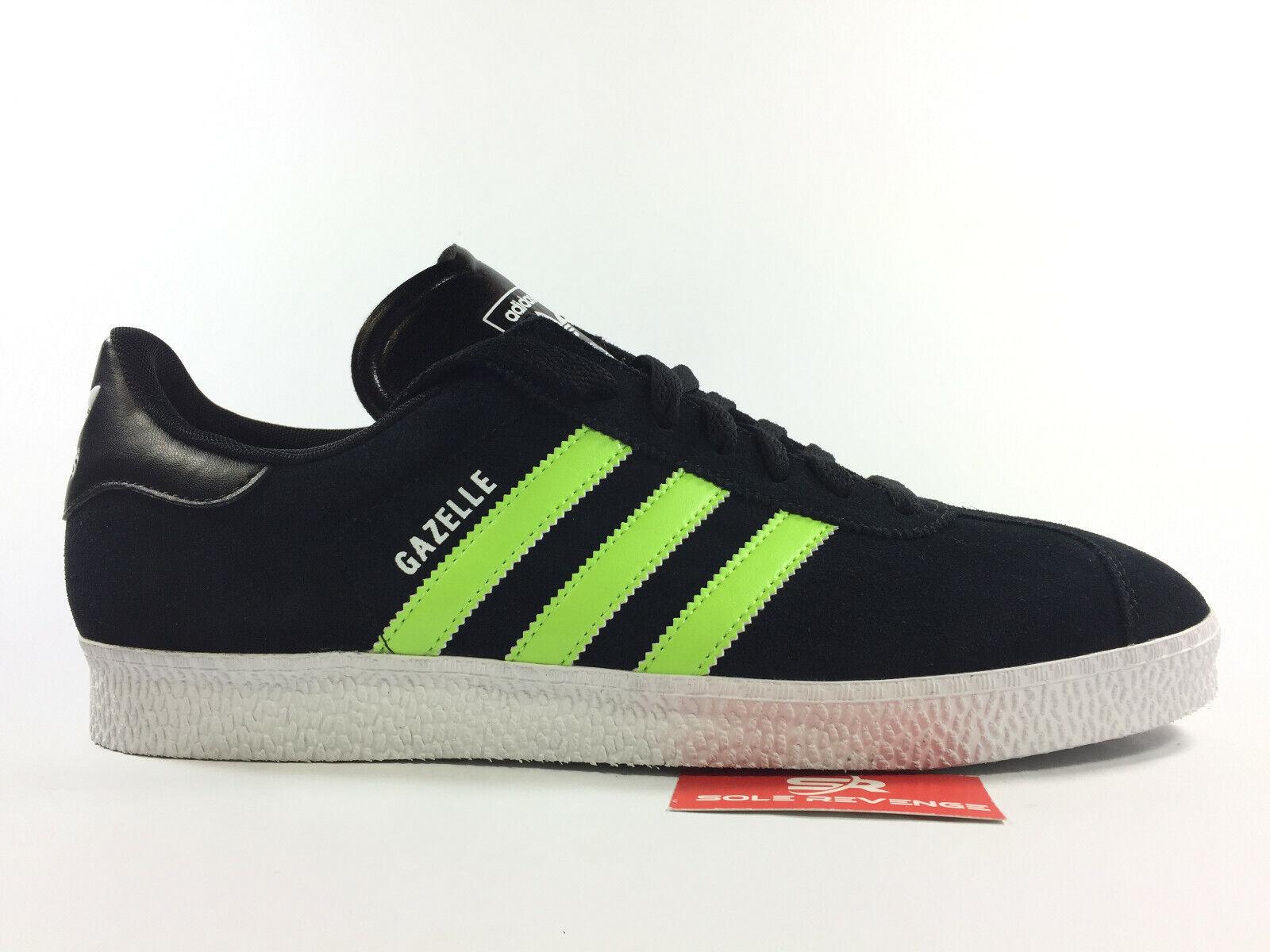 New Men adidas GAZELLE Black Slime Green Black G56656 v1 Trainers Shoes