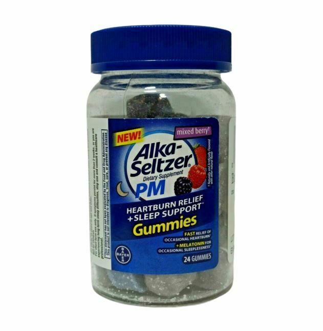 Alka Seltzer PM Heartburn Relief + Sleep Support Berry 24 Gummies EXP 10/20 3