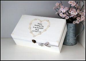 Details About Bride Gift Keepsake Box Gift Wedding Personalised Date Pretty Box Memory Box