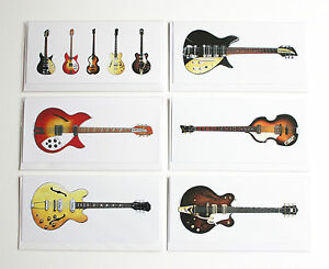 The beatles guitars pack of 6 greeting cards dl size ebay image is loading the beatles guitars pack of 6 greeting cards m4hsunfo