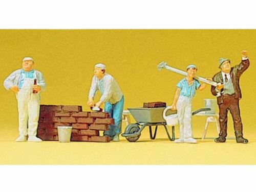 Preiser 10251 Maçons et Accessoires 4 Pièces Polissage chef de chantier h0 NEUF