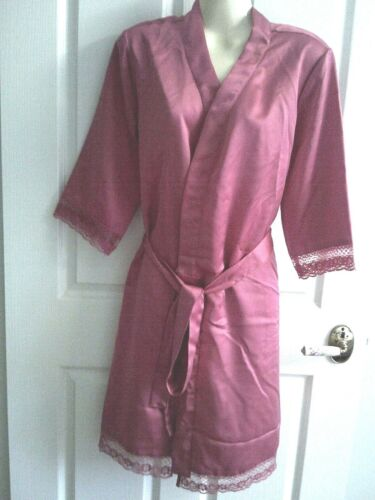 Details about  /S   SATIN AND LACE PINK TO KNEE  E SUMMER ROBE DRESSING GOWN CROSSOVER NWT $29