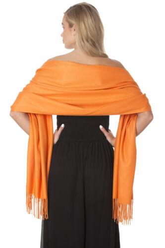 Central Chic Orange Cashmere Scarf Pashmina Shawl Wrap *UK Seller//Fast Delivery*