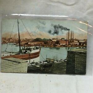 Vintage Postcard Tonawanda New York Harbor Scene 1912 Twin Cities Nautical