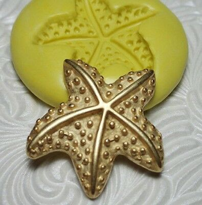 "1"" Silicone Resin Polymer Metal Clay Fondant Flexible Push Mold STARFISH"