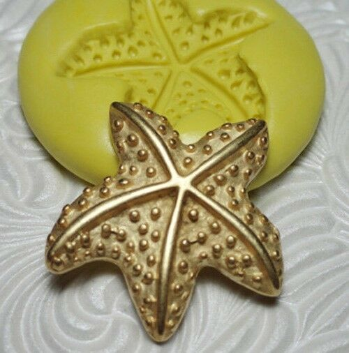"1"" Silicone Resin Polymer Metal Clay Fondant Flexible Push Mold STARFISH"