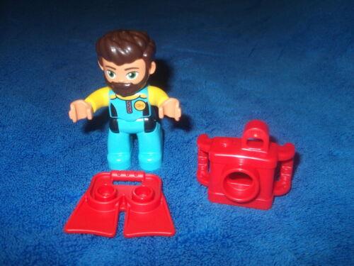 Lego Duplo Ville 1 X Taucher Schwimmflossen Kamera Figur Mann 10910 10907 NEU