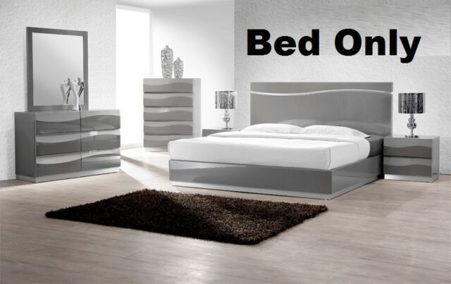Gray Lacquer Modern 1pc Bedroom Set In Est King Size Bed Headboard W Led Light For Sale Online Ebay