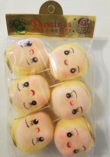 """VTG Pack of 6 Craft Styrofoam Anime Blonde Angel 2/"""" Doll Head Stick Flower Pick"""