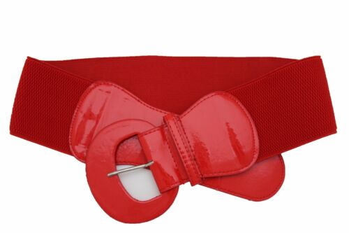 Casual Women Red  Color Wide Faux Leather Elastic Band Belt Round Buckle XS S M
