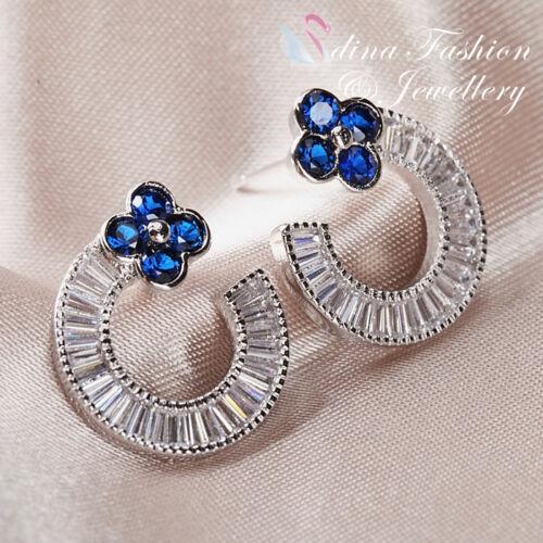 18K White Gold Plated CZ Channel-Set Baguette Half Circle Flower Stud Earrings