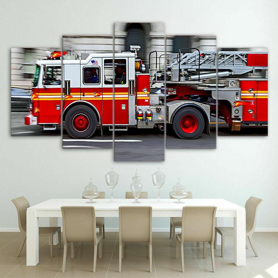 Feuerwehrauto Feuerwehrmann Fünf Teile Gerahmt Leinen Multi Panel Home Dekor
