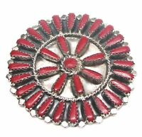 Navajo Handmade Coral Sterling Silver Cluster Pendant/pin -priscilla Byjoe