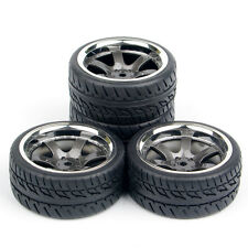 4pcs Set Rubber Tires Wheel Rim 12MM Hex For RC 1:10 Road Car PP0038+PP0150