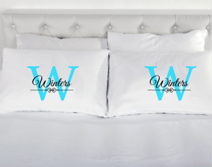Details about Personalized Last Name Heart Love Couple Pillowcases Cool His  & Her Valentines