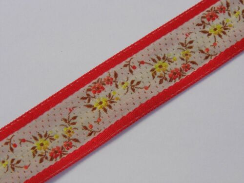 Wide Cream flower with Red Edging Vintage Jacquard Tissé 30 mm r018