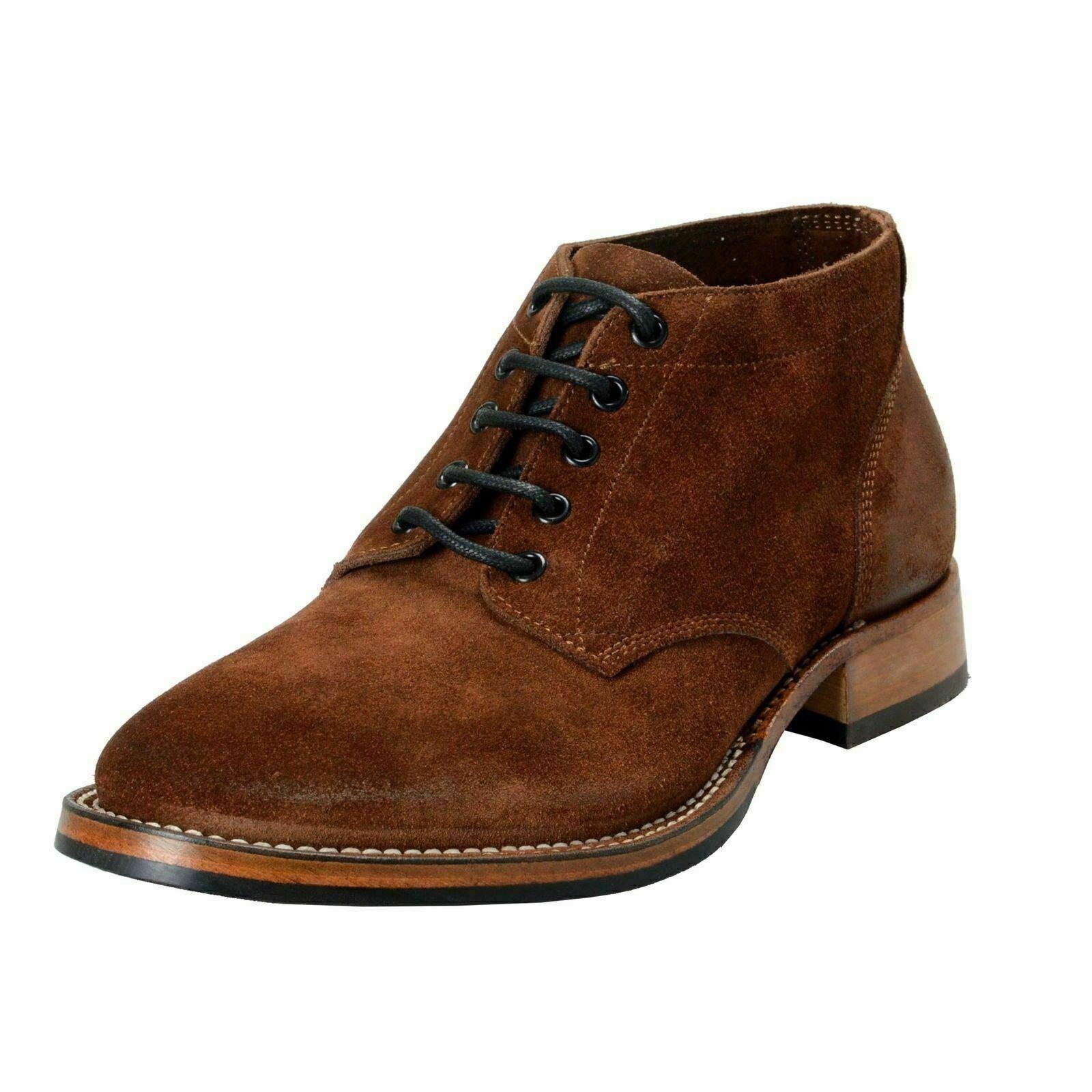 Belstaff Men's Stockwell Marronee Suede Leather stivali scarpe US 9 IT 42