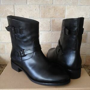 fcea55c9914 Details about UGG Fletcher Black Leather Water-resistant Ankle Booties  Boots Size 9.5 Womens