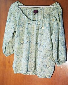 J-Crew-Liberty-Art-Fabric-Blouse-Green-Boho-Peasant-Off-the-Shoulder-Blouse-NWOT