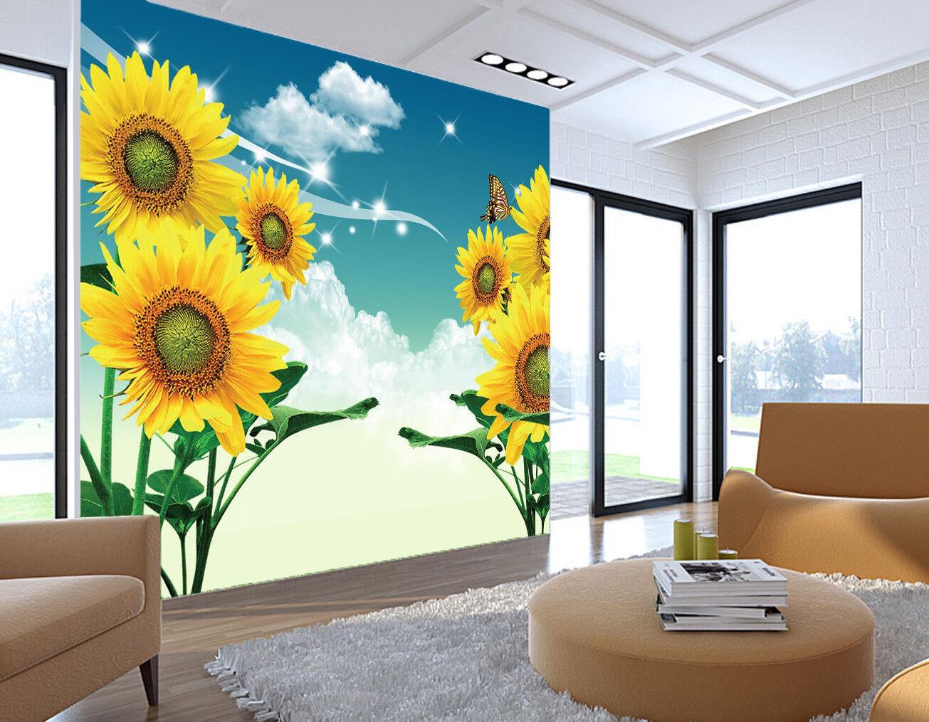 3D Sunflower Sky 7381 Wallpaper Mural Wall Print Wall Wallpaper Murals US Lemon