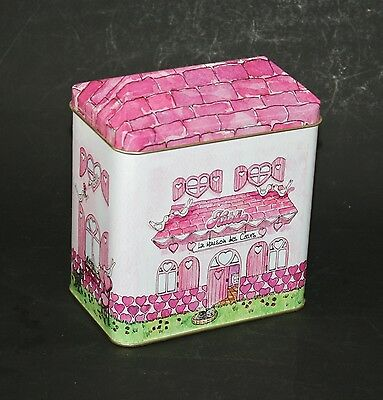 "HOUSE SHAPED NOVELTY TIN ""PINK HEART DETAILED HOUSE"" FRENCH CONTAINER"