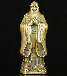 Collectible-Old-Handwork-Carving-Bronze-China-Educator-Ancient-Confucius-Statue