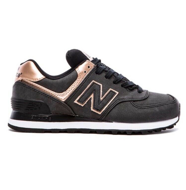 Women's New Balance 574 ROSE GOLD Black Dark Grey Sz 8 Run Casual Shoes WL574PMR