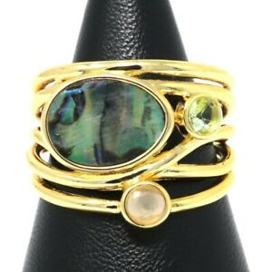 Antique-Abalone-Statement-Ring-Women-Wedding-Engagement-Jewelry-Size-5-6-7-8-9