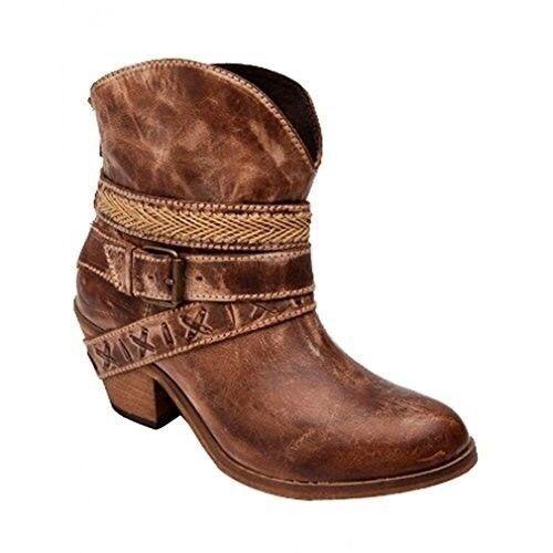 CORRAL Wouomo Cognac Mixed Straps Round Toe Ankle stivali PB018