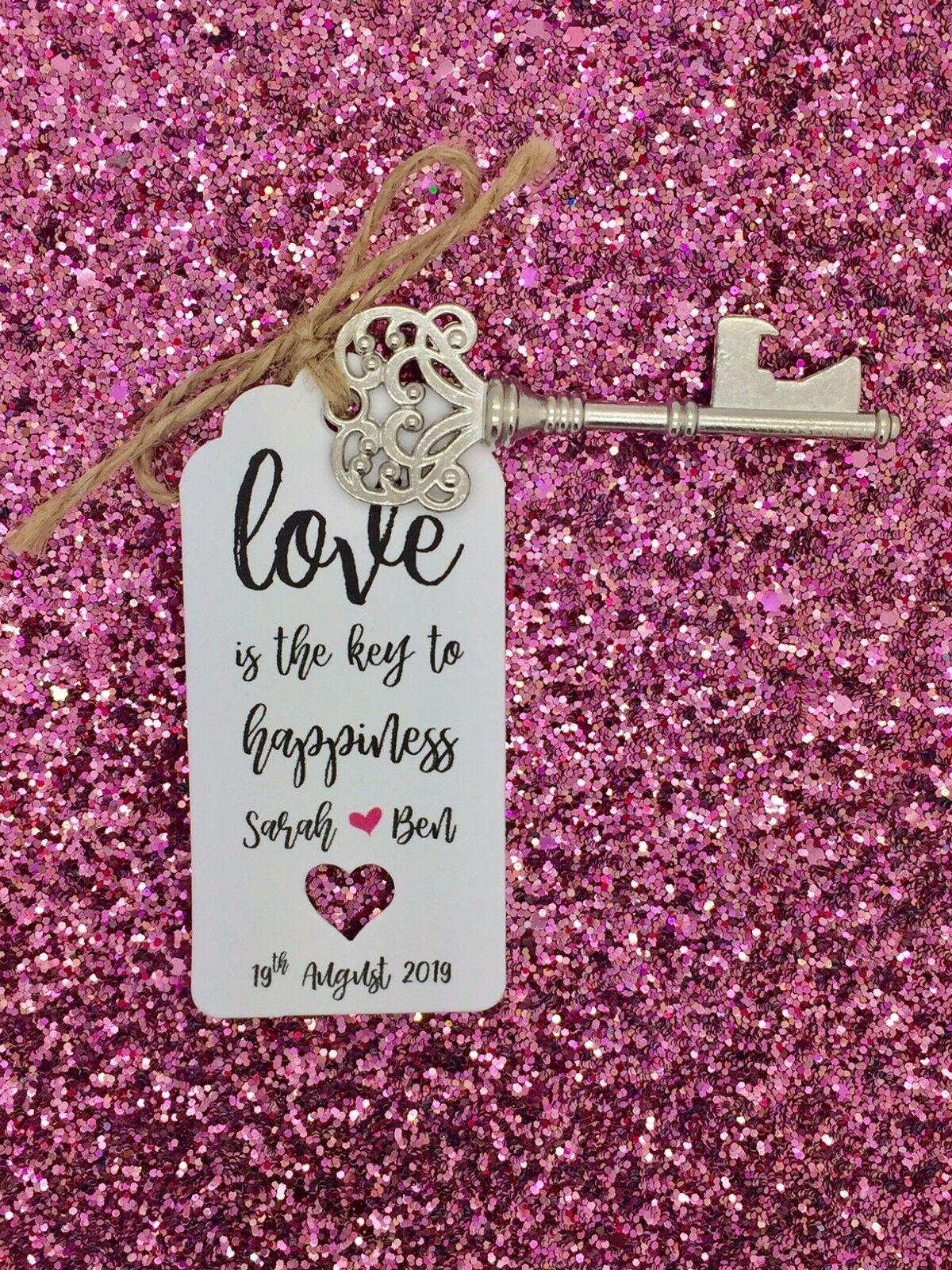 Ouvre-bouteille Mariage Faveur avec avec Faveur personnalisé étiquettes, la clé du bonheur ca6f5d