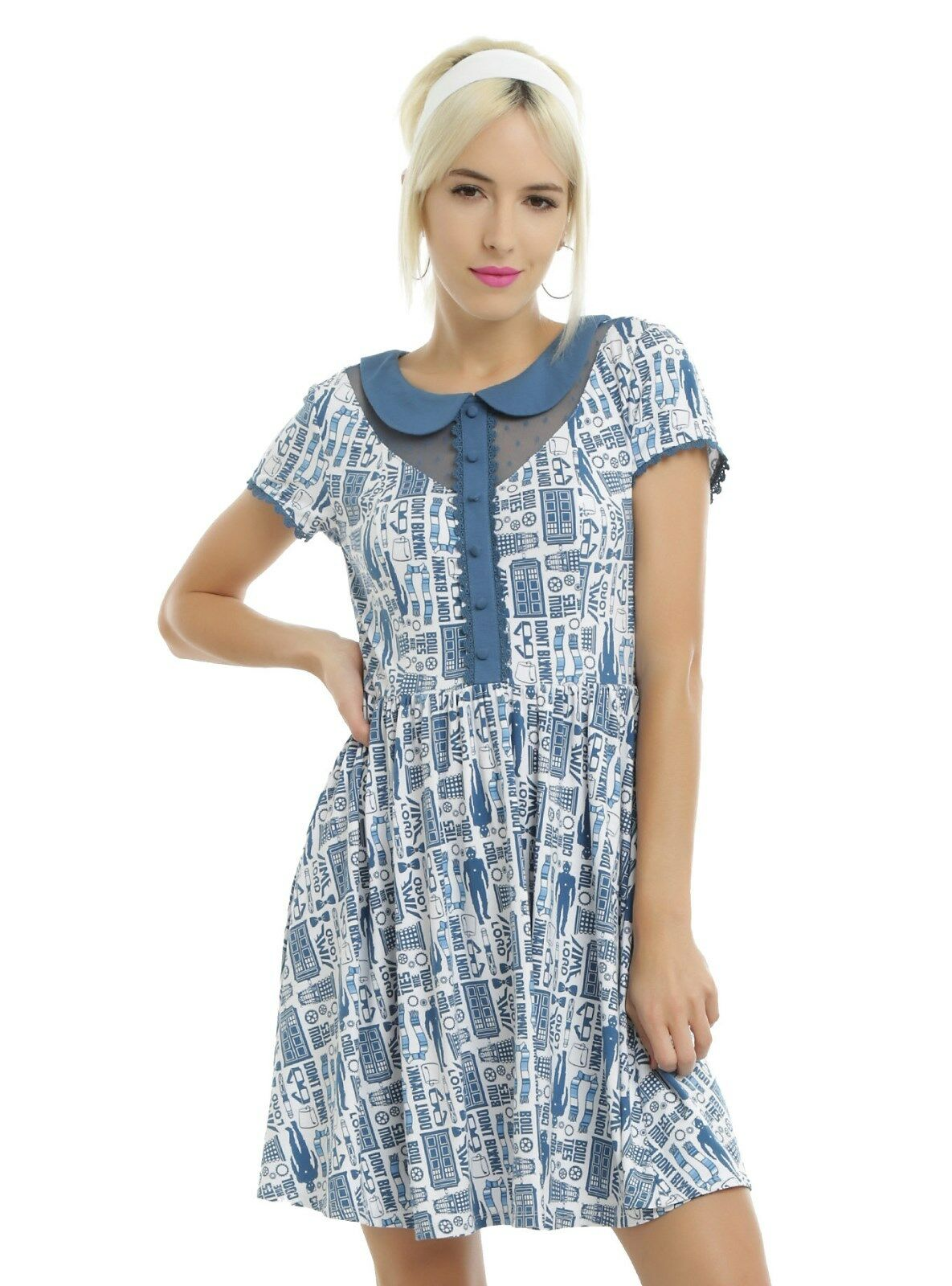 Doctor Who TARDIS Print Peter Pan Collar Dress Authentic BBC FreeShip SIZE SMALL