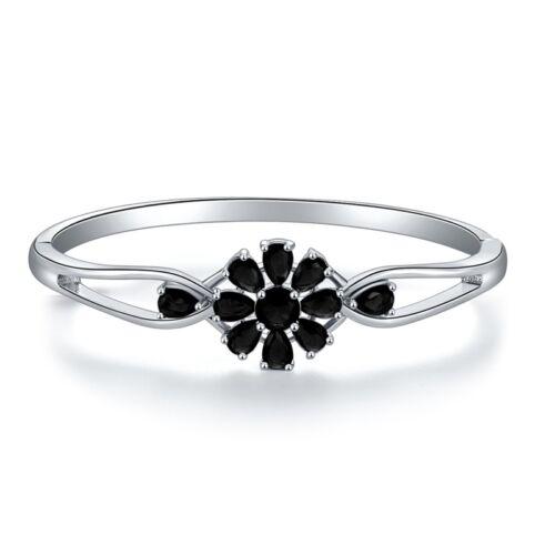 """Fashion Topaz Argent Femmes Bijoux Fleur Bracelet Jonc Cadeau 7 3//4/"""" NS2165-69"""