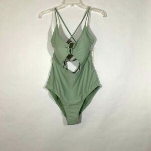 634adc9c893f5 NEW Womens One Piece Mid Cutout Strappy Back Swimsuit Womens Olive ...
