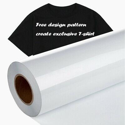 Clothes Heat Transfer Vinyl 12 x 10 Feet Rolls,1 Roll Vinyl Heat Transfer Iron On DIY Garment Film Silhouette Paper Art White Hats and Other Textiles DIY Heat Press Design for T-Shirt