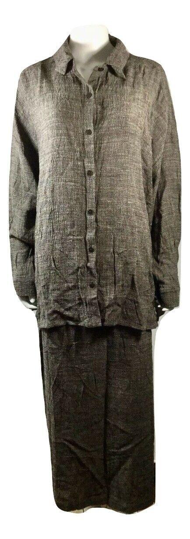 Eileen Fisher Womens 2 Piece Linen Top And Long Skirt Set 1X 2X