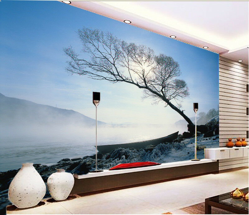 3D Fog Beach Boat 562 Wall Paper Wall Print Decal Wall Deco Indoor Mural Summer